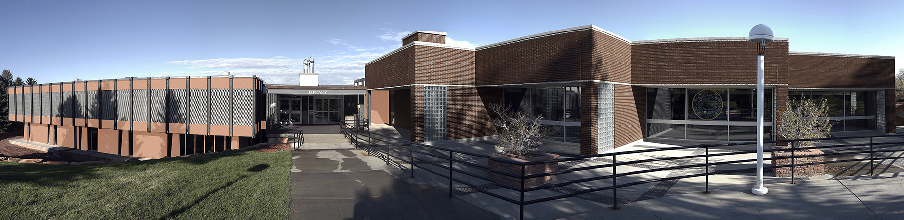 panorama of the library building exterior