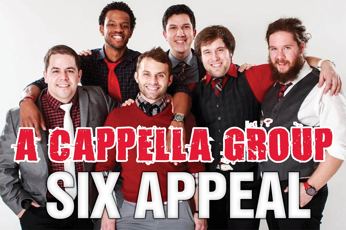 The a cappella group Six Appeal Vocal Band will be in concert at Casper College on Friday, April 28 beginning at 7 p.m. in Durham Auditorium.