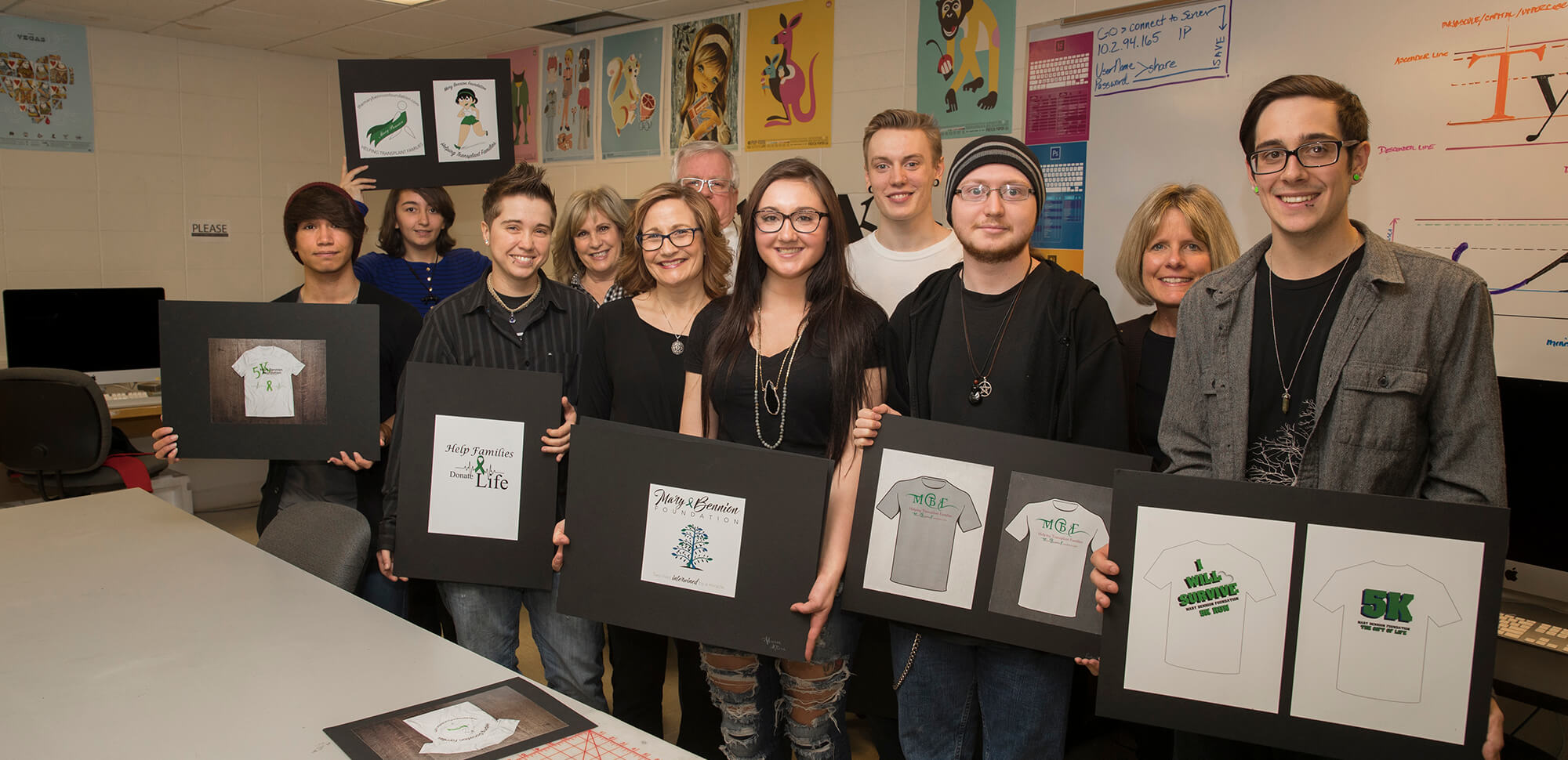 Graphic design students and artwork for contest.