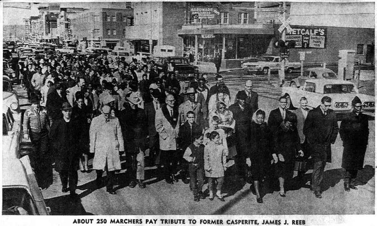 Photo of 1965 memorial march for James Reeb in Casper