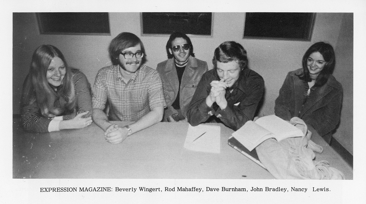 Expression magazine staff photo from 1971