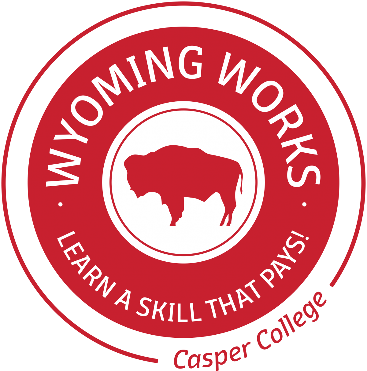 "Red circle with a buffalo and the words ""Wyoming Works, Learn a skill that pays!"""