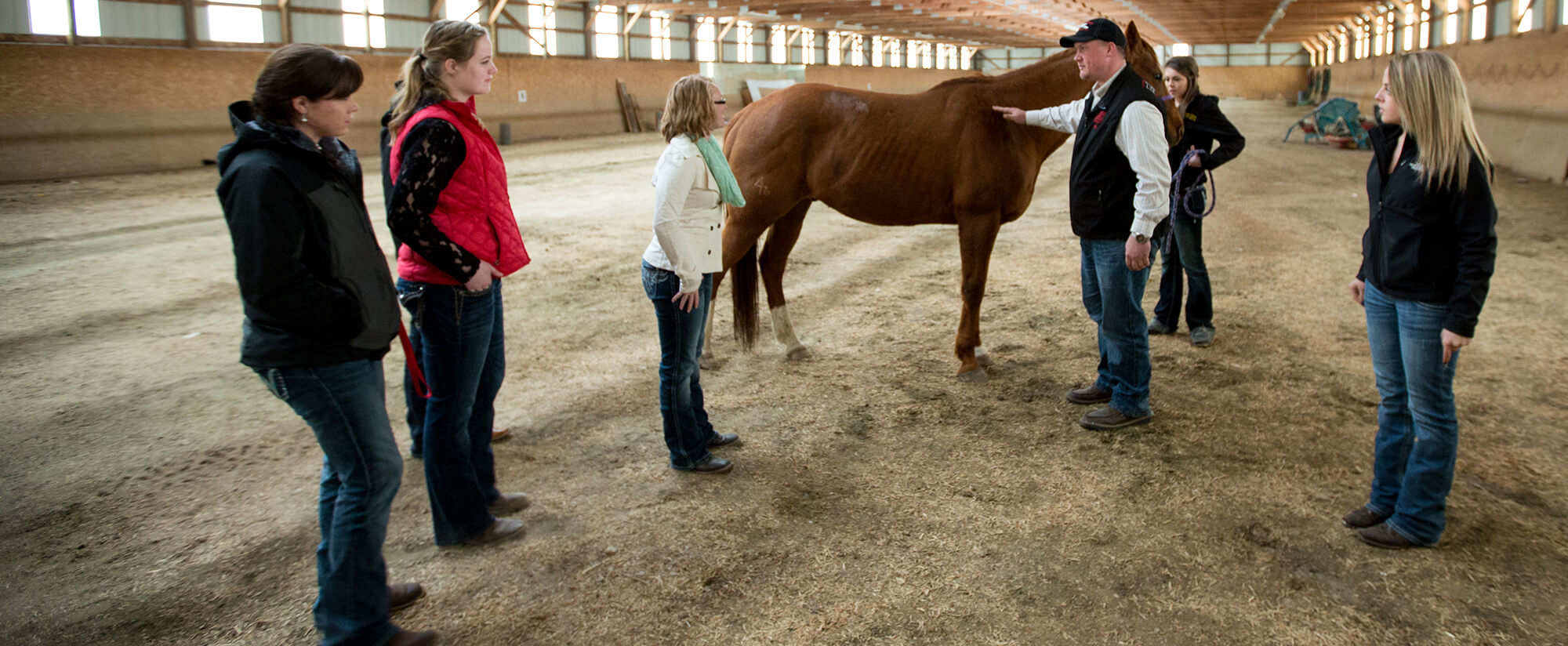Inside a farm building, a male instructor gestures at a horse while a group of students surround him.