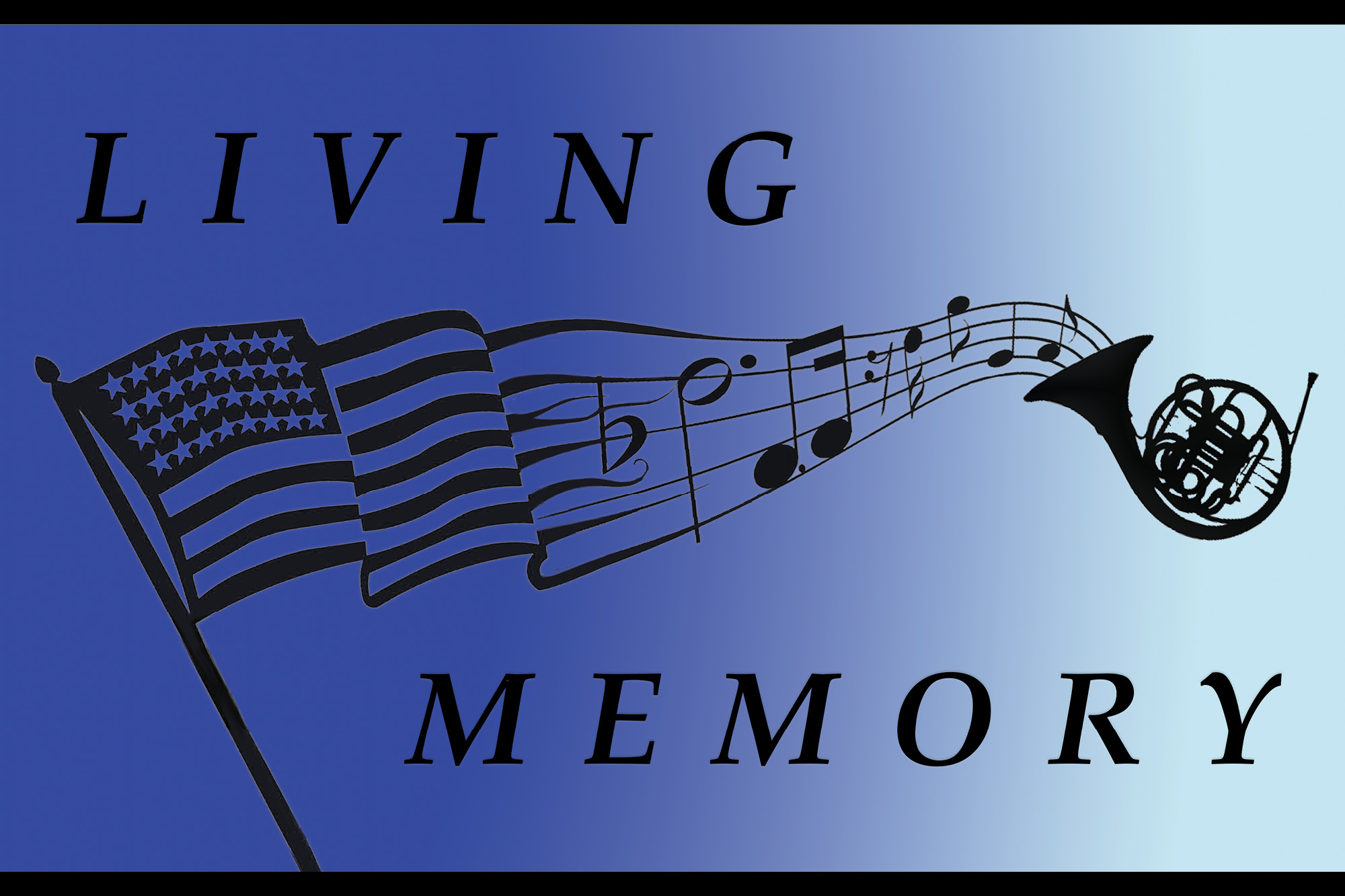 Image of flag, musical notes and a French horn with the word Living Memory