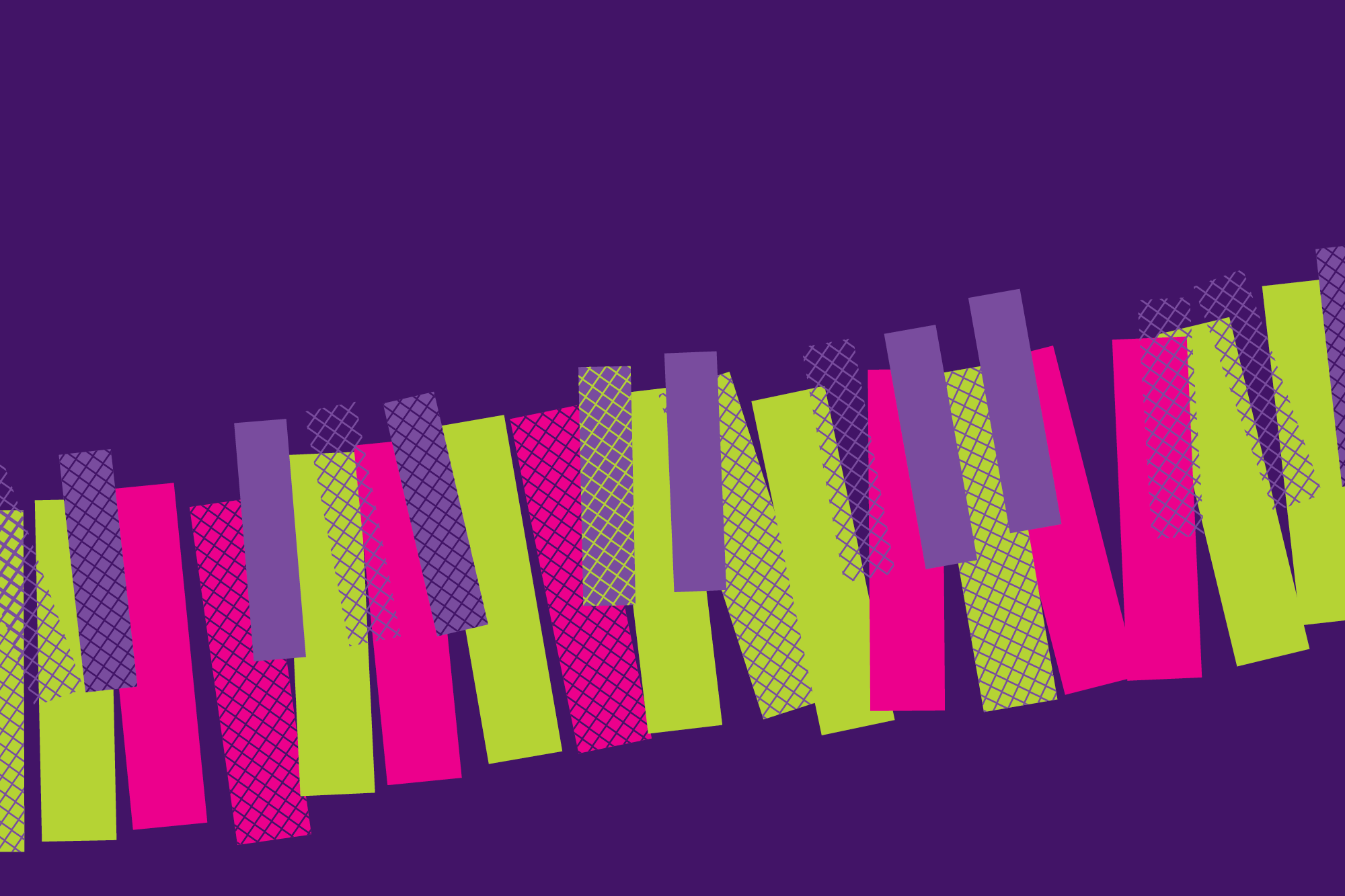 Abstract image of hot pink and lime green piano keys against a purple background.