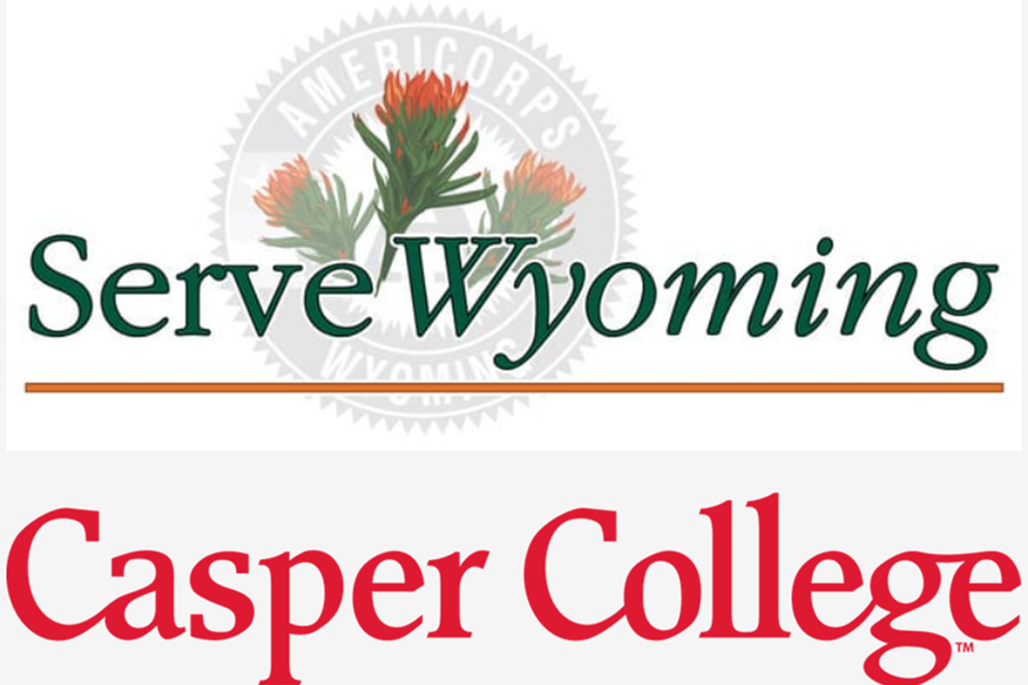 Image combining the logo of Serve Wyoming and Casper College
