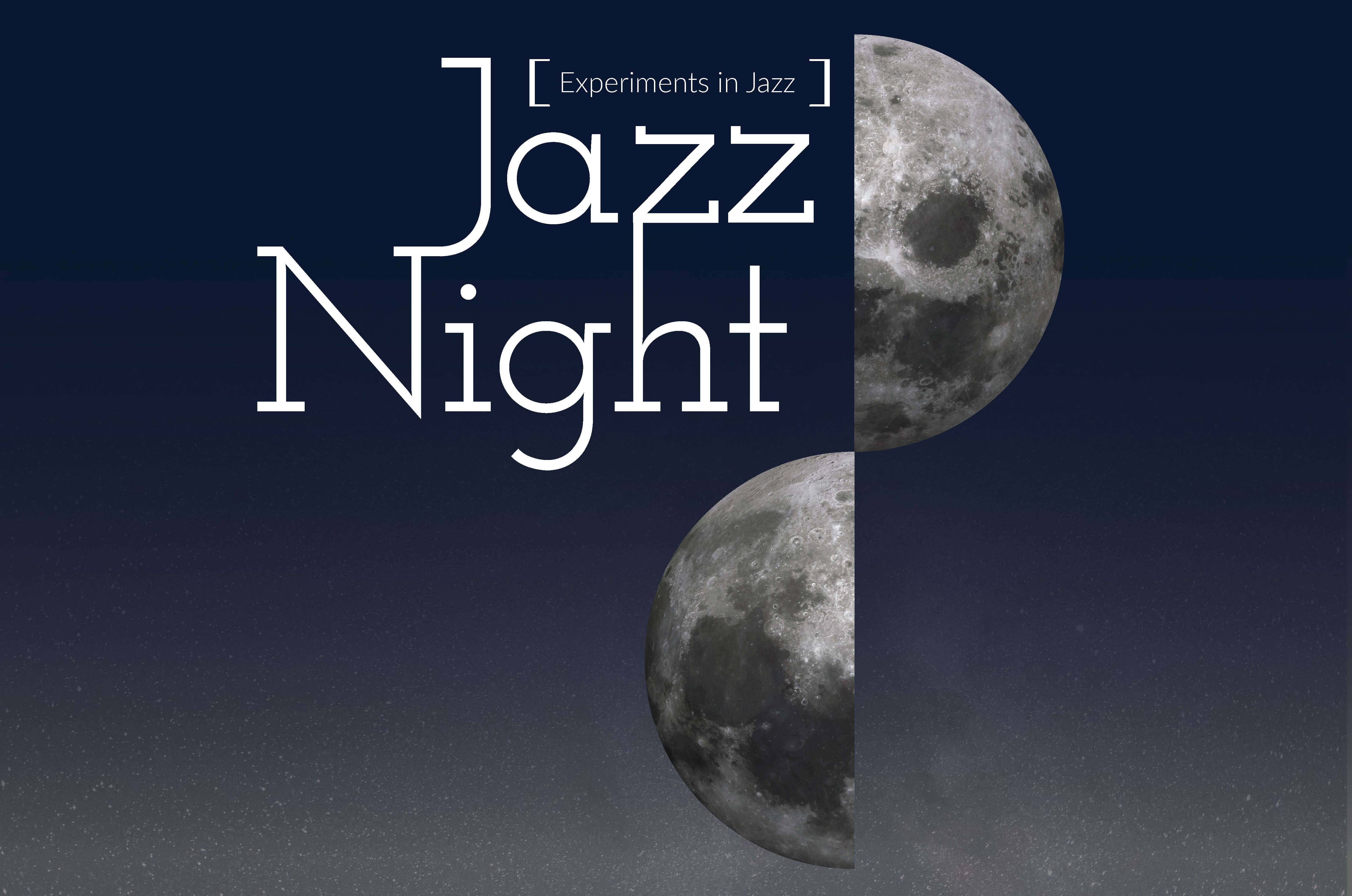 """Image of moon with the words """"Jazz Night."""""""
