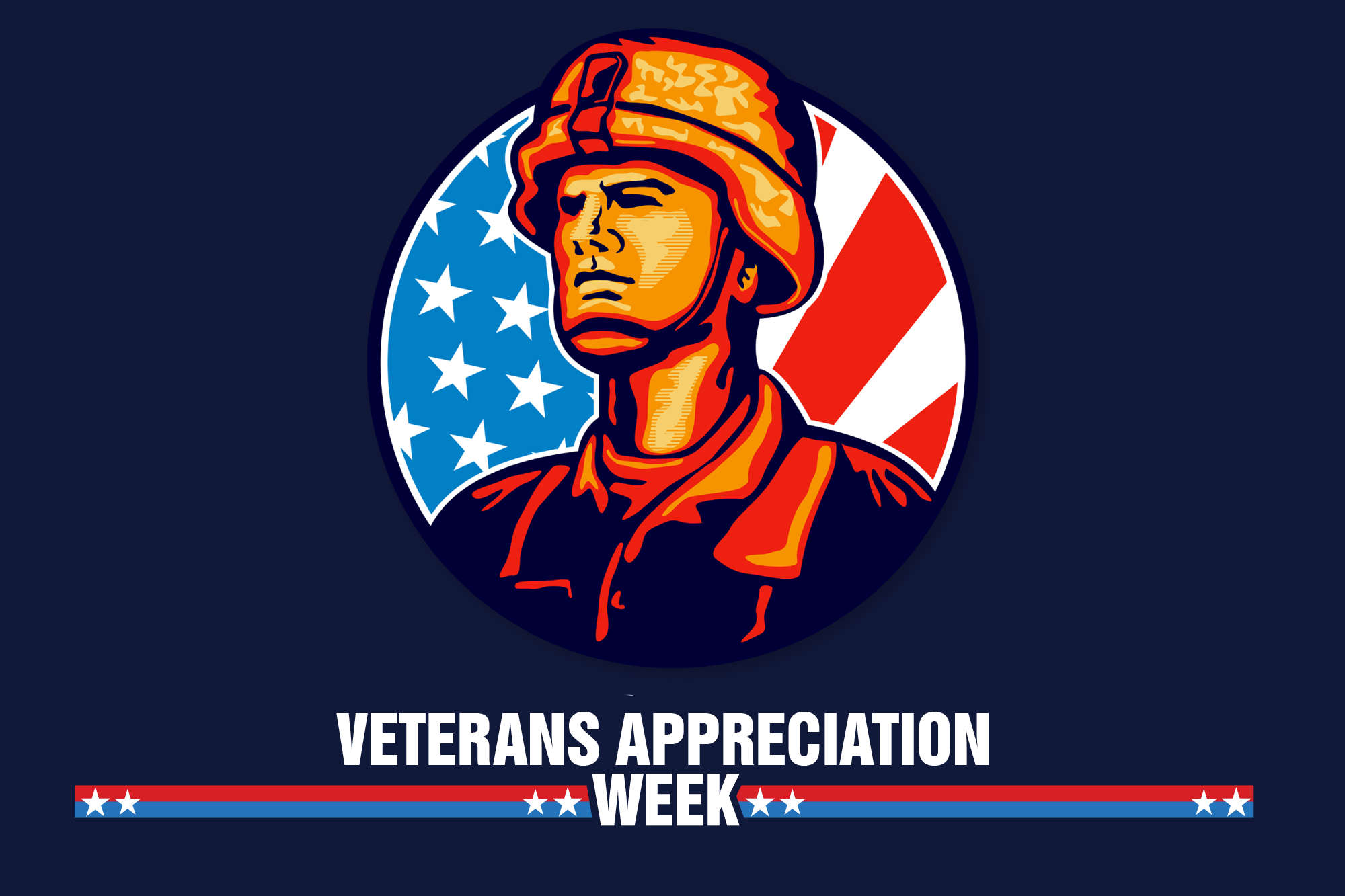 "Artwork of a soldier against a background of the American flag wit the words ""Veterans Appreciation Week."""