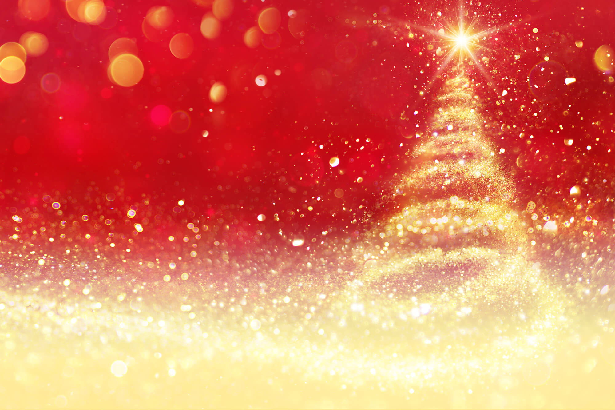 Red and gold digital image of a Christmas tree.