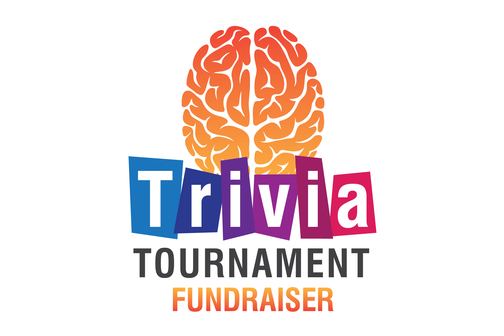 """Image with the words """"Trivia Tournament Fundraiser."""""""