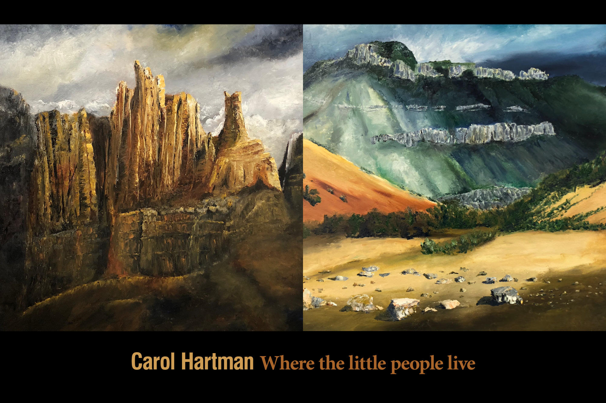 """A photograph of two oil paintings by Carol Hartman with the words """"Carol Hartman Where the little people live."""""""