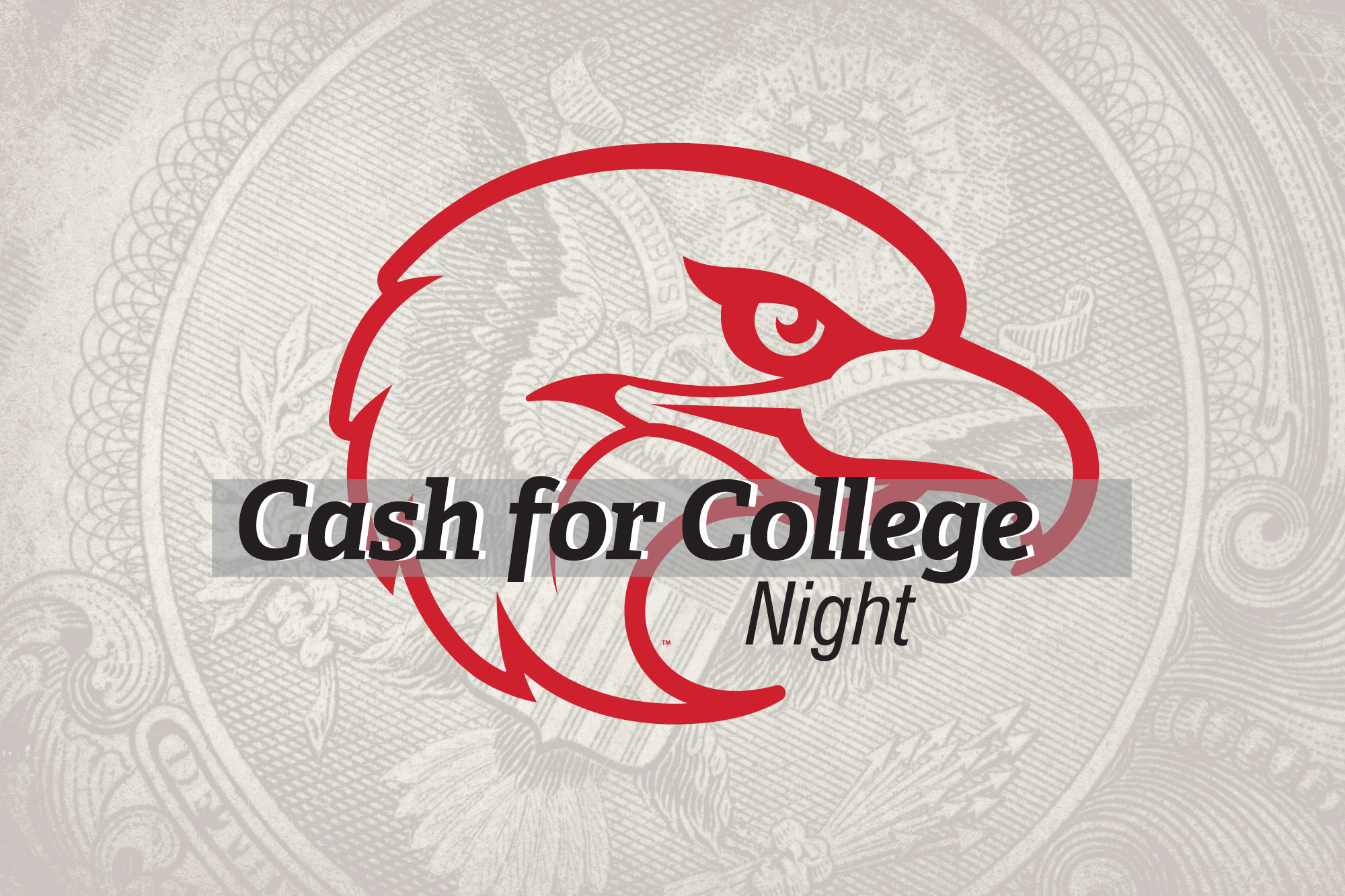 "Thumderbird logo in the background with the words: ""Cash for College Night."""
