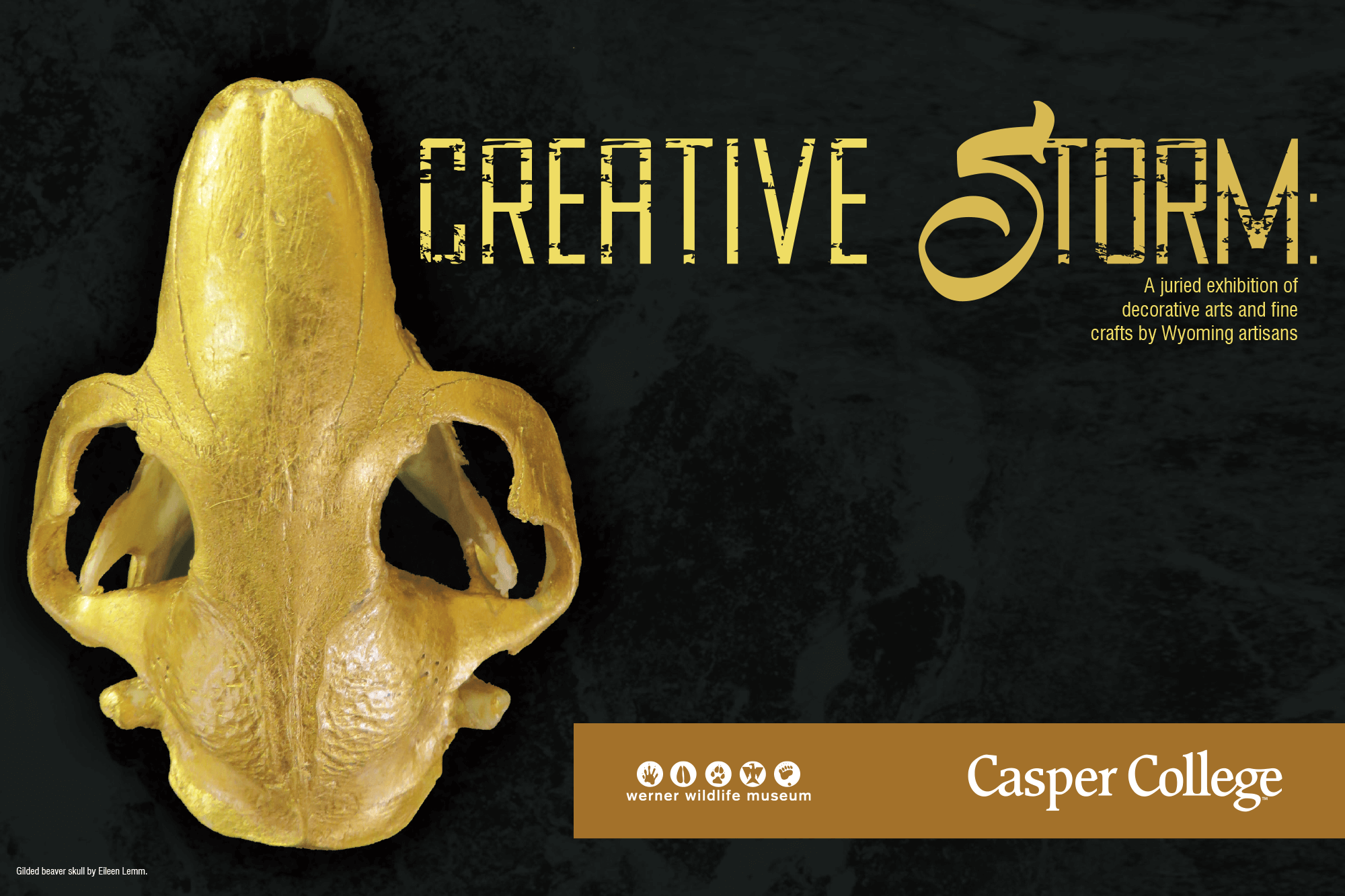 """Image featuring a gold-colored beaver skull with the words """"Creative Storm."""""""