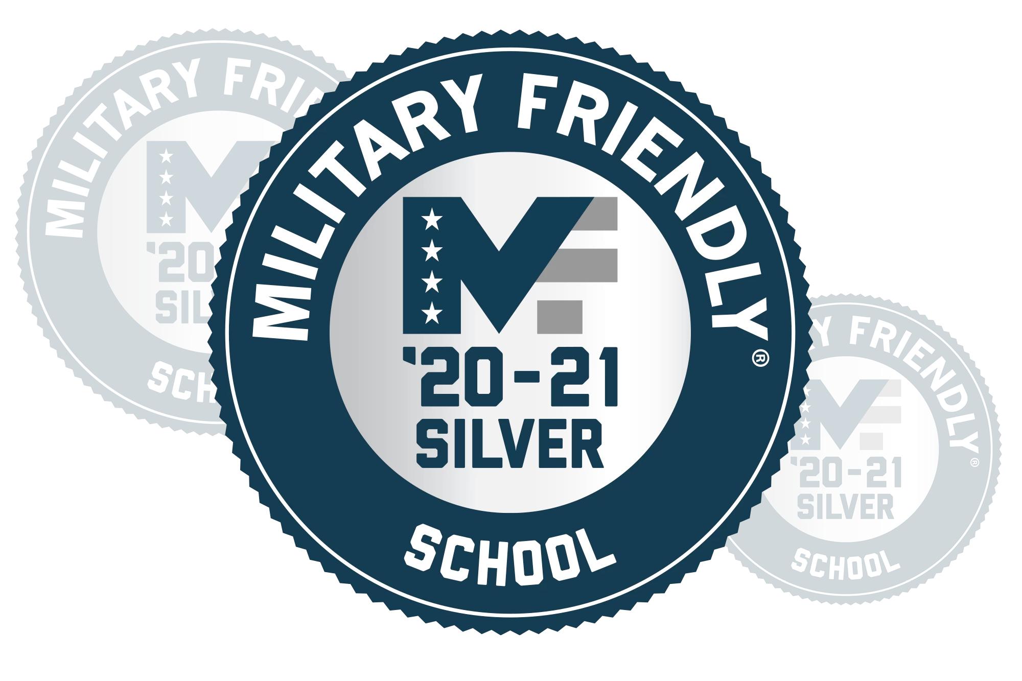 Logo for a silver designated Military Friendly School.