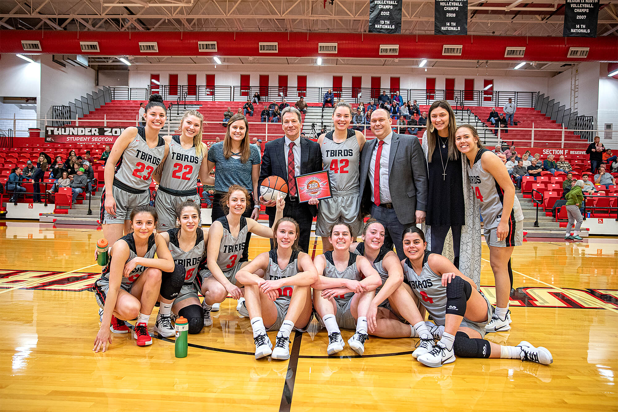 Group photo of the Casper College Women's Basketball team and coaches.