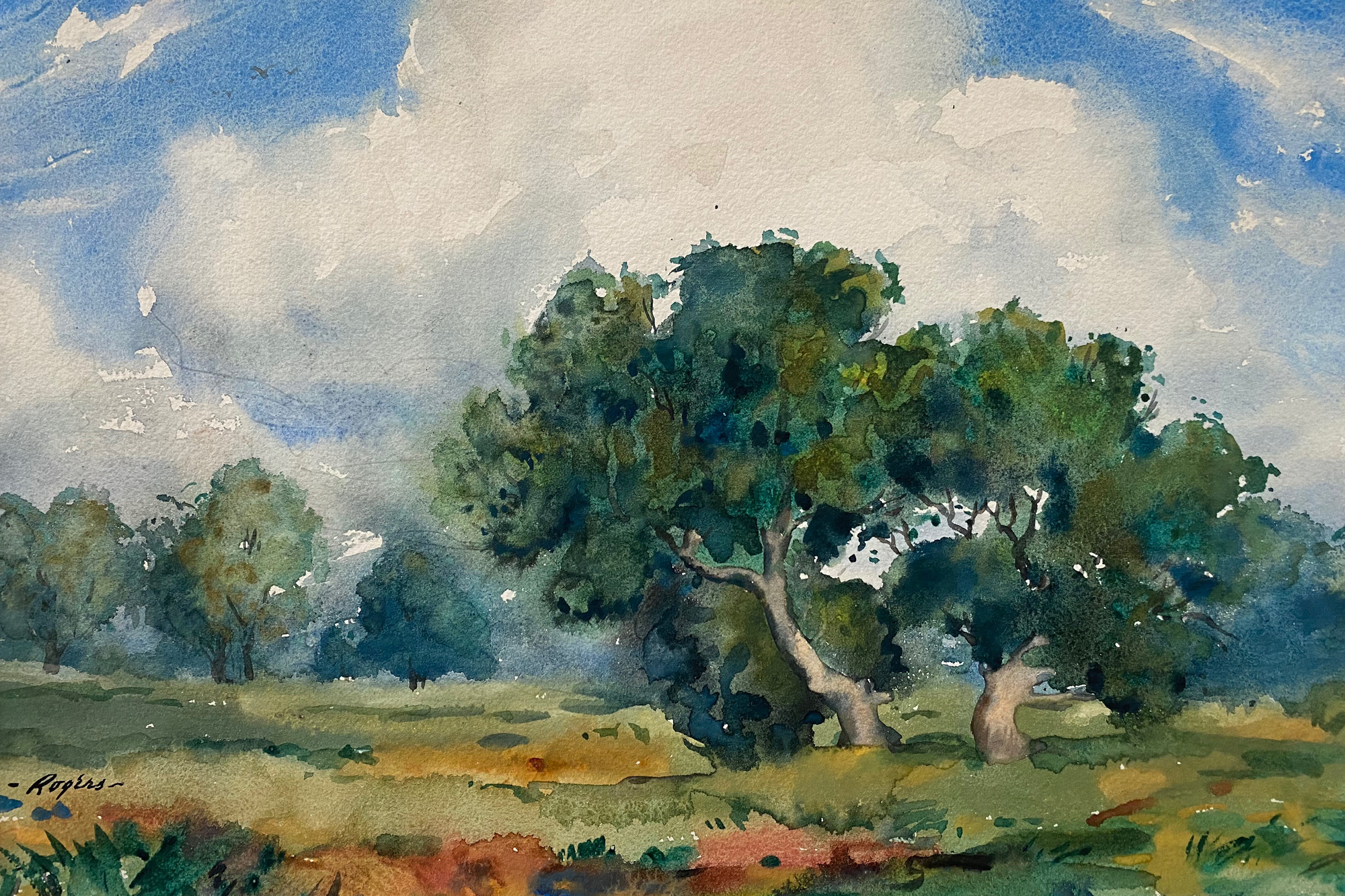 A photo of a painting of trees and clouds.