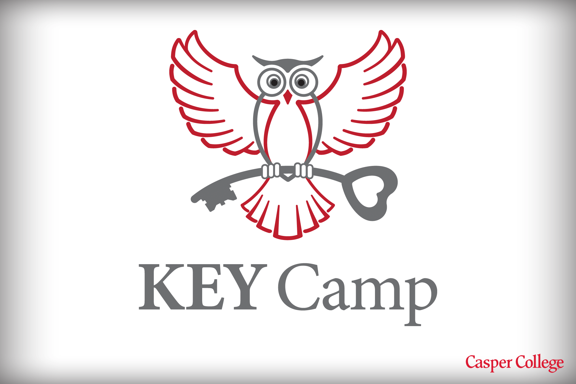 Line drawing of an owl perched on an old-fashioned key.
