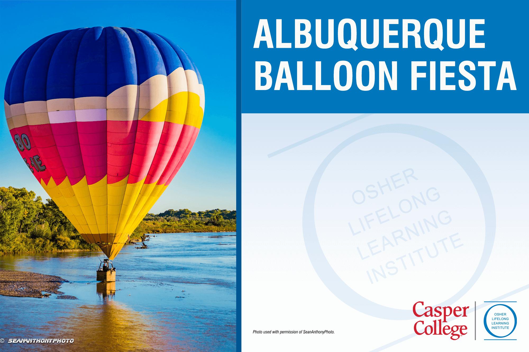 """Photo of a hot air ballon with the words """"Albuquerque Balloon Fiesta."""""""