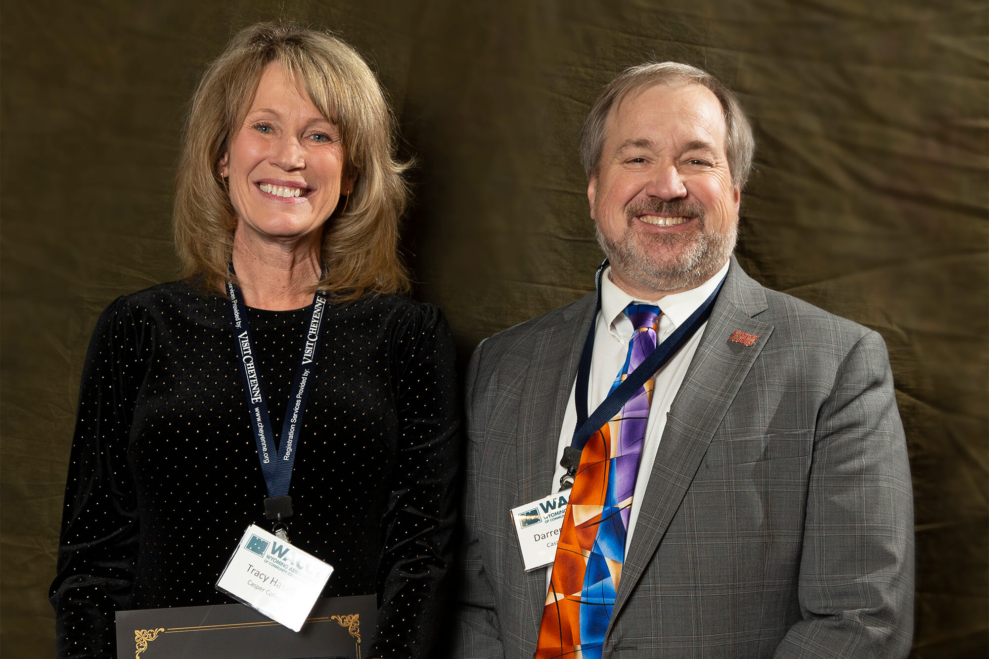 Photo of Tracy Hasley-Harshman, Casper College director of student health, and Casper College President Darren Divine.