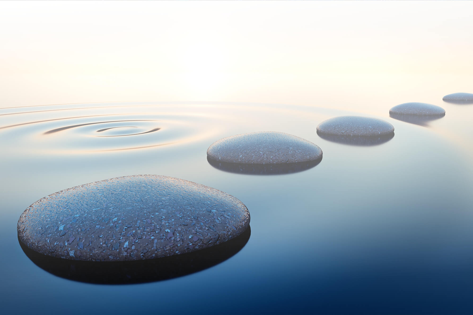 Photograph of walking stones in a pool of water.