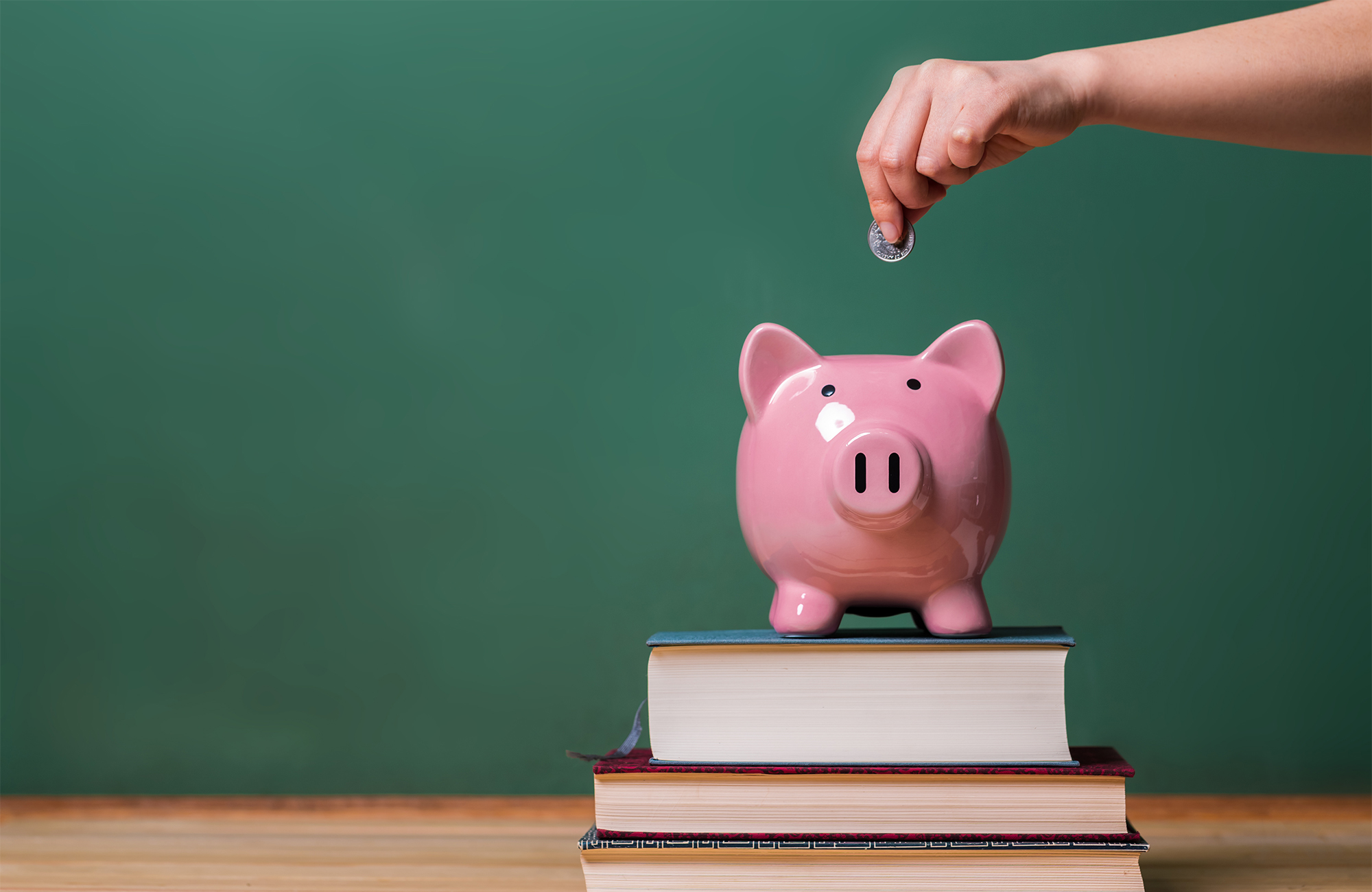 Photo of pink piggy bank on top of books with a hand depositing a coin into the bank.