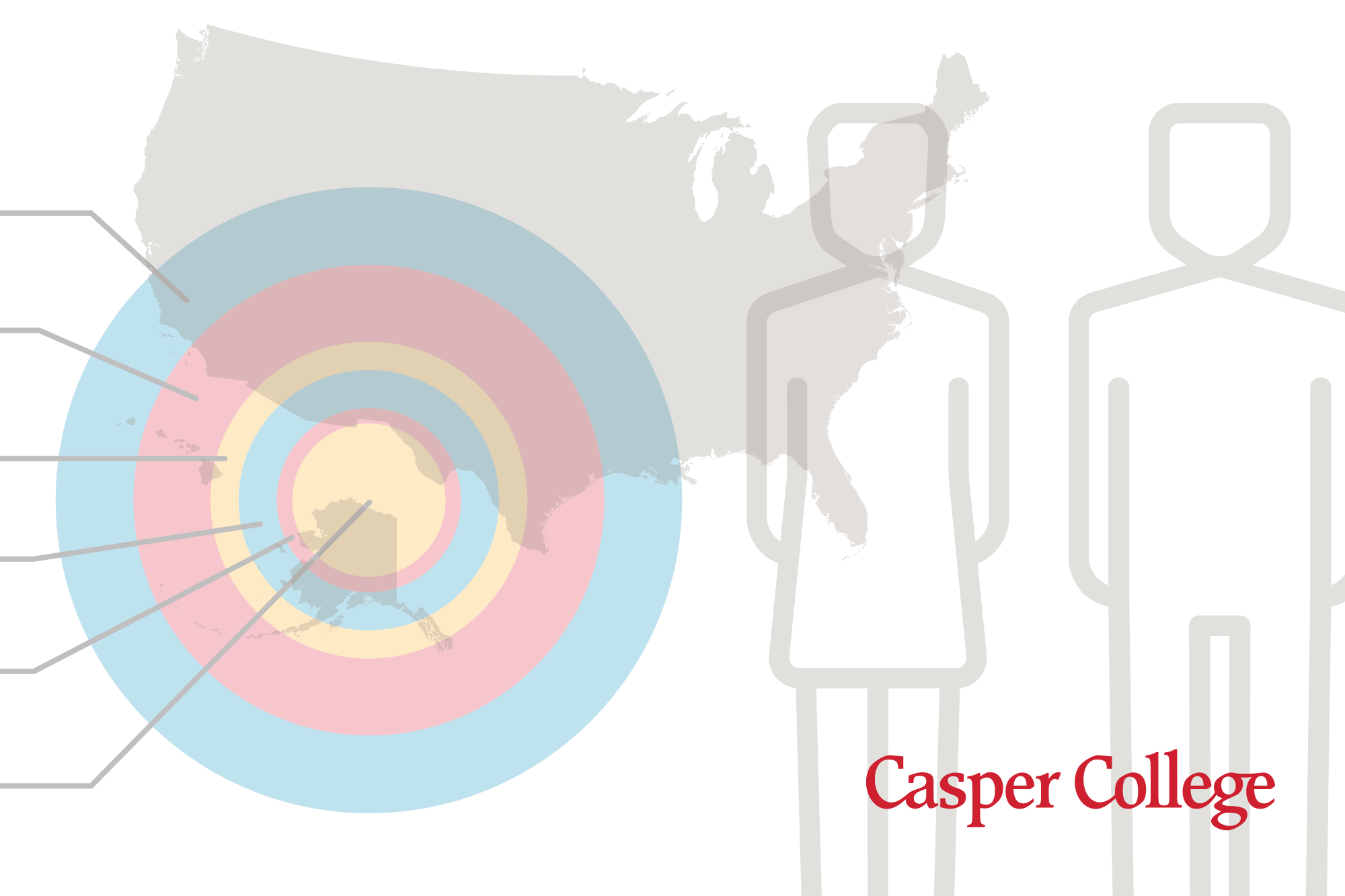 Drawing of the map of the United States, two outlines of people and a bullseye.