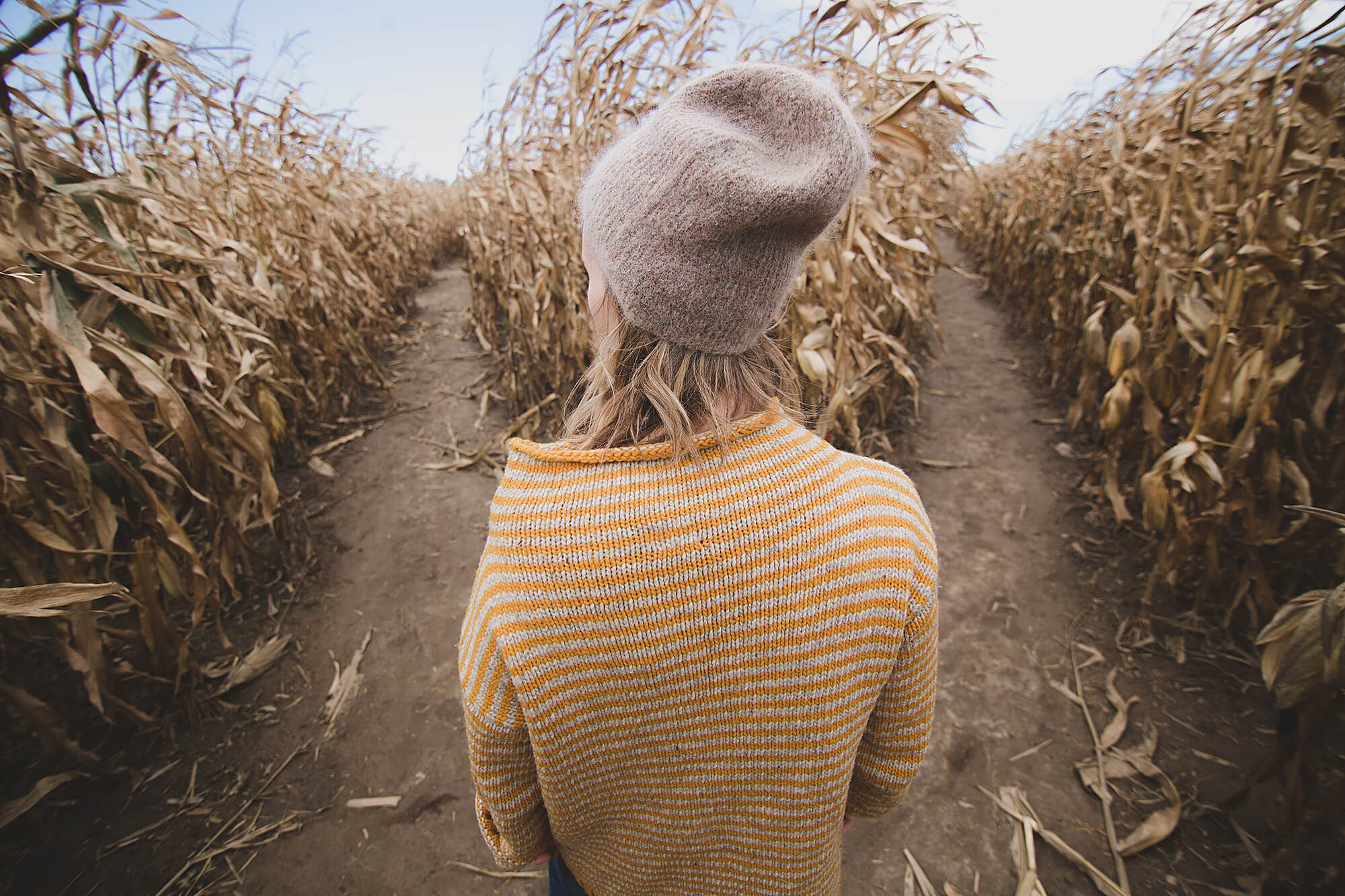 Photo of girl standing between rows of corn in a corn field.