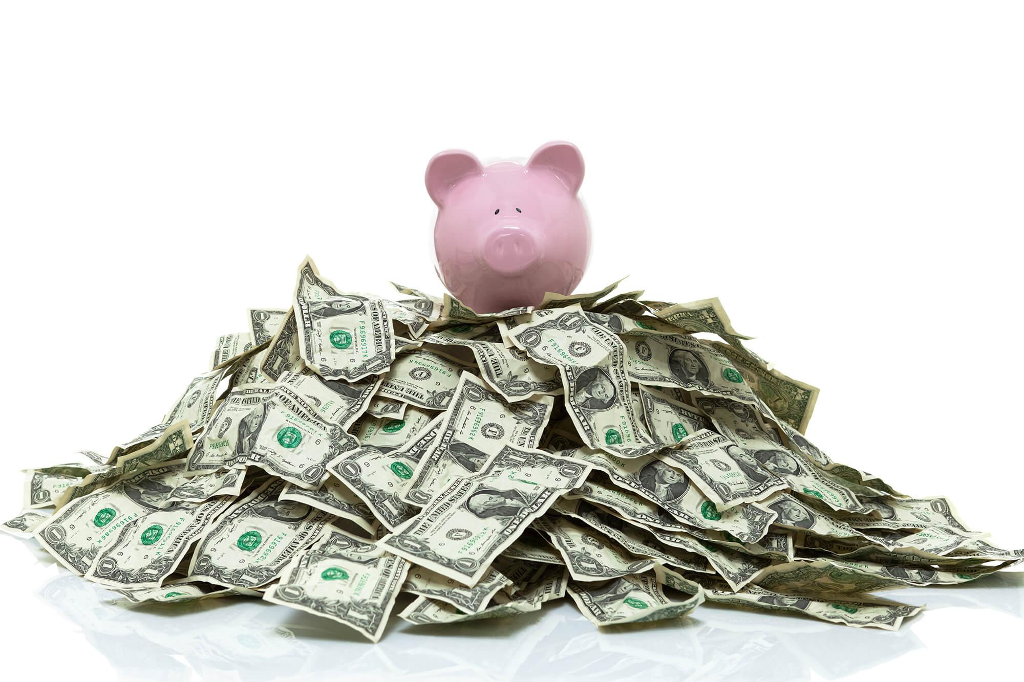 Photo of piggy bank with dollar bills surrounding it.