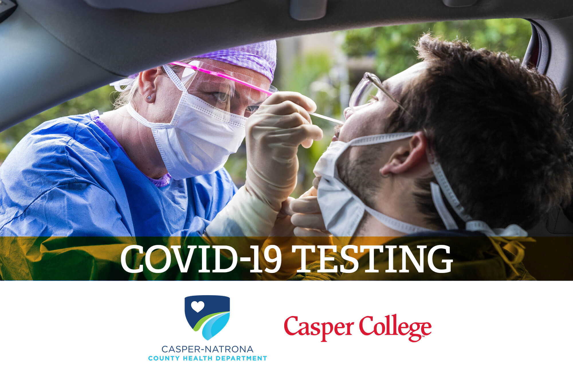 "Photo of a person receiving a nasal COVID-19 test with the words ""COVID-19 Testing."""