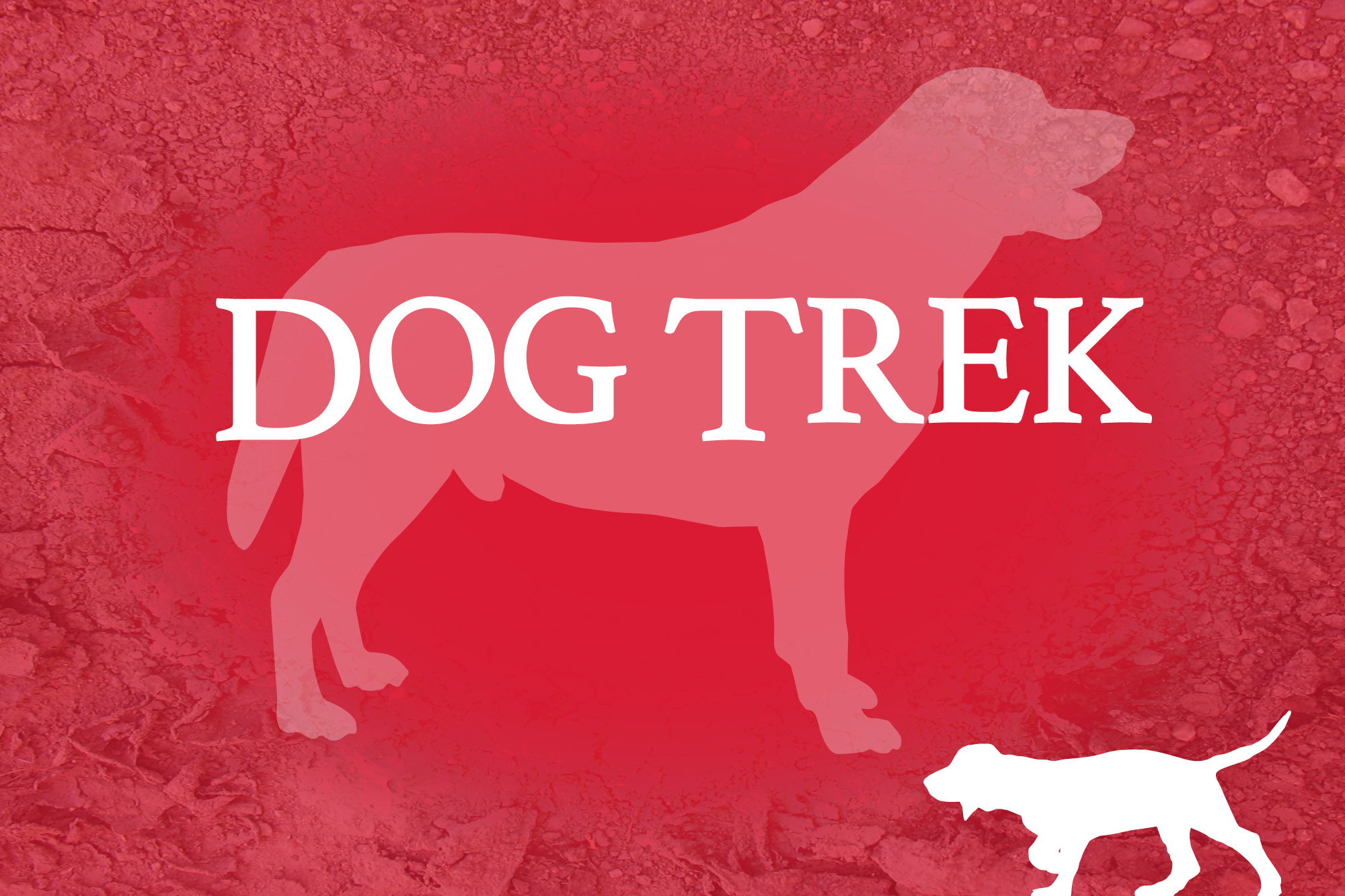 """Red background with two silhouettes of dogs and the words """"Dog Trek."""""""