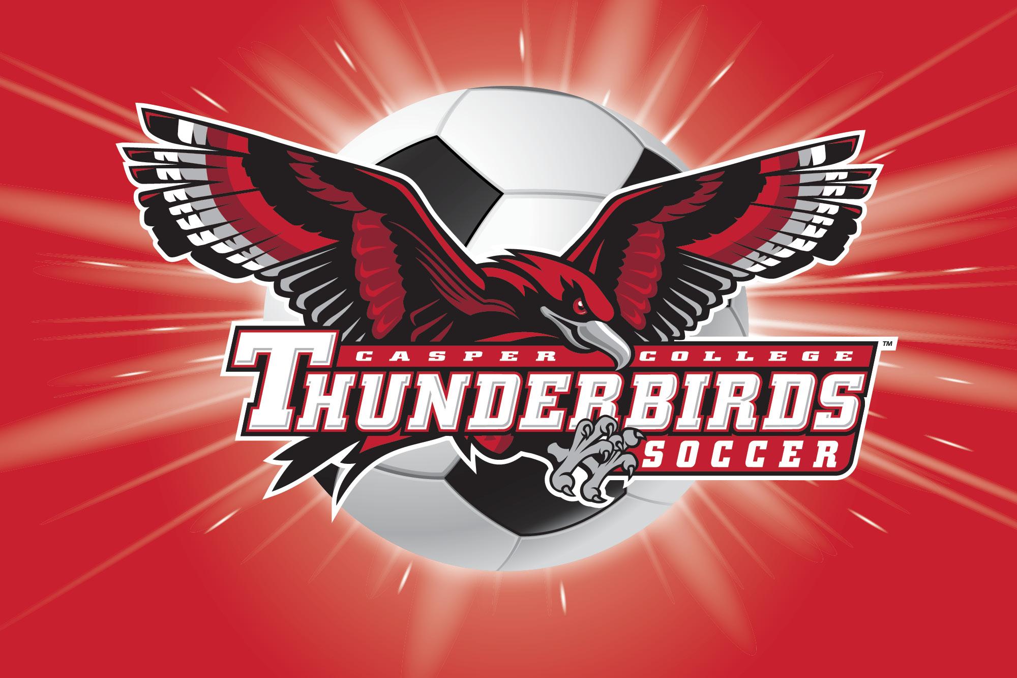 "Athletic T-Bird logo with the words ""Thunderbird Soccer."""