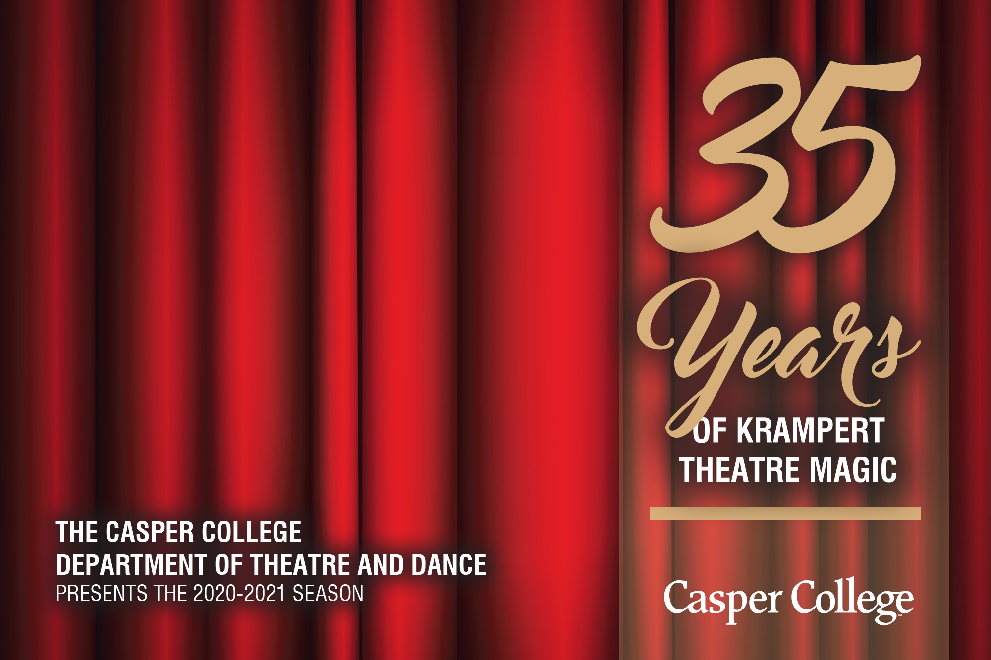 Image of red stage curtains with the words 35 Years of Krampert Theatre Magic.