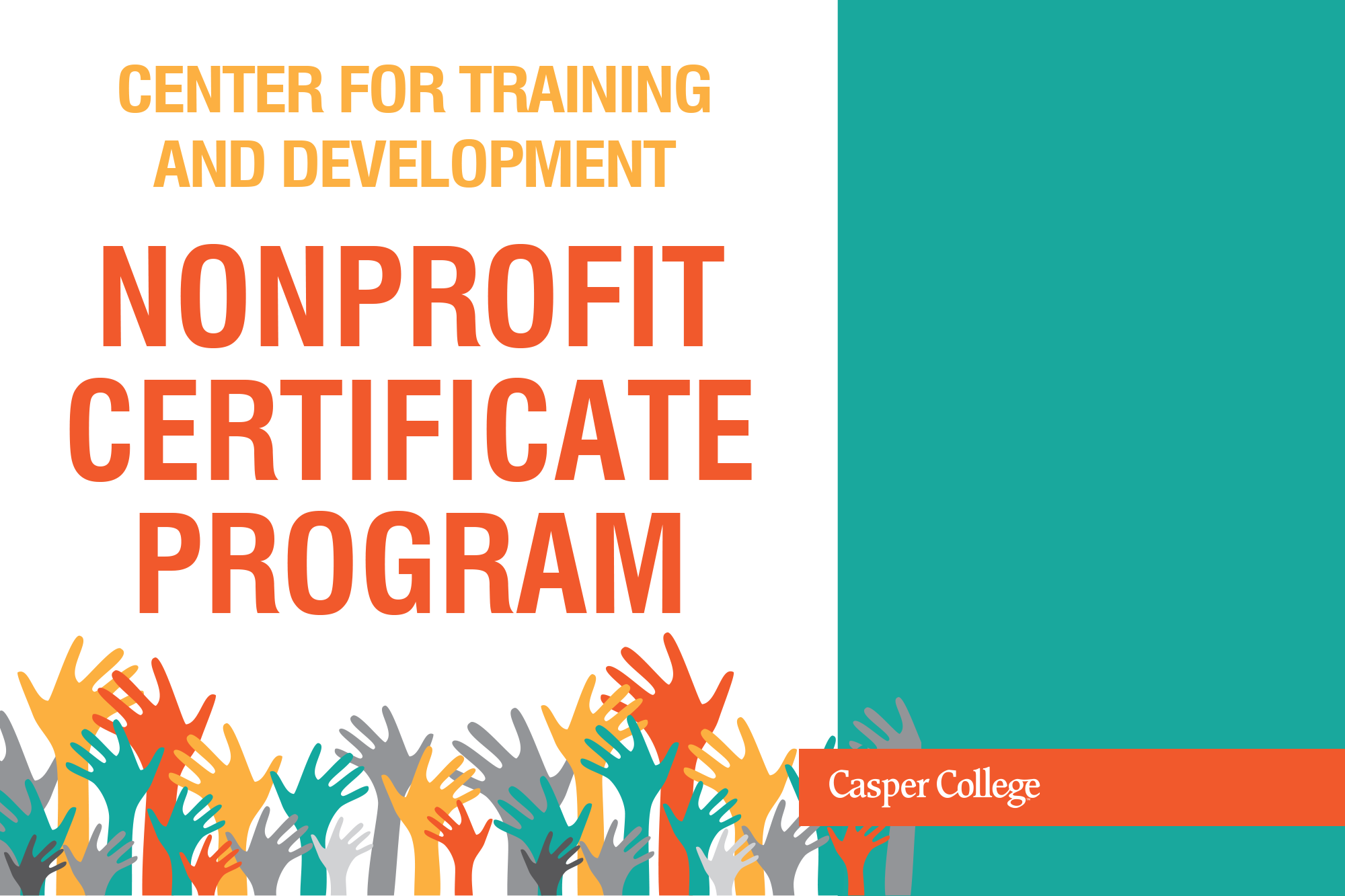 """Drawing of raised hands with the words """"Nonprofit Certificate Program."""""""