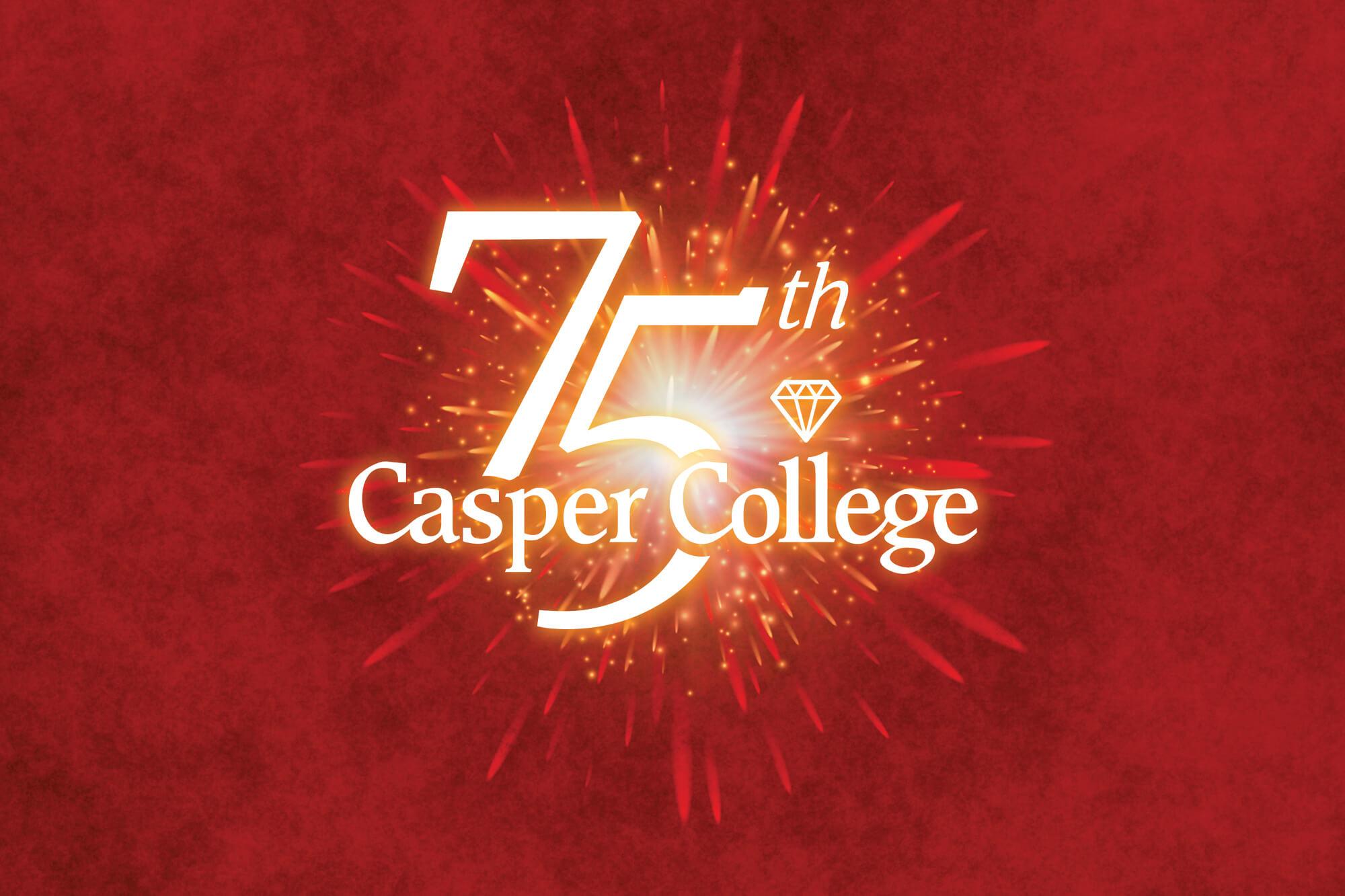 Casper College 75th Anniversary logo.