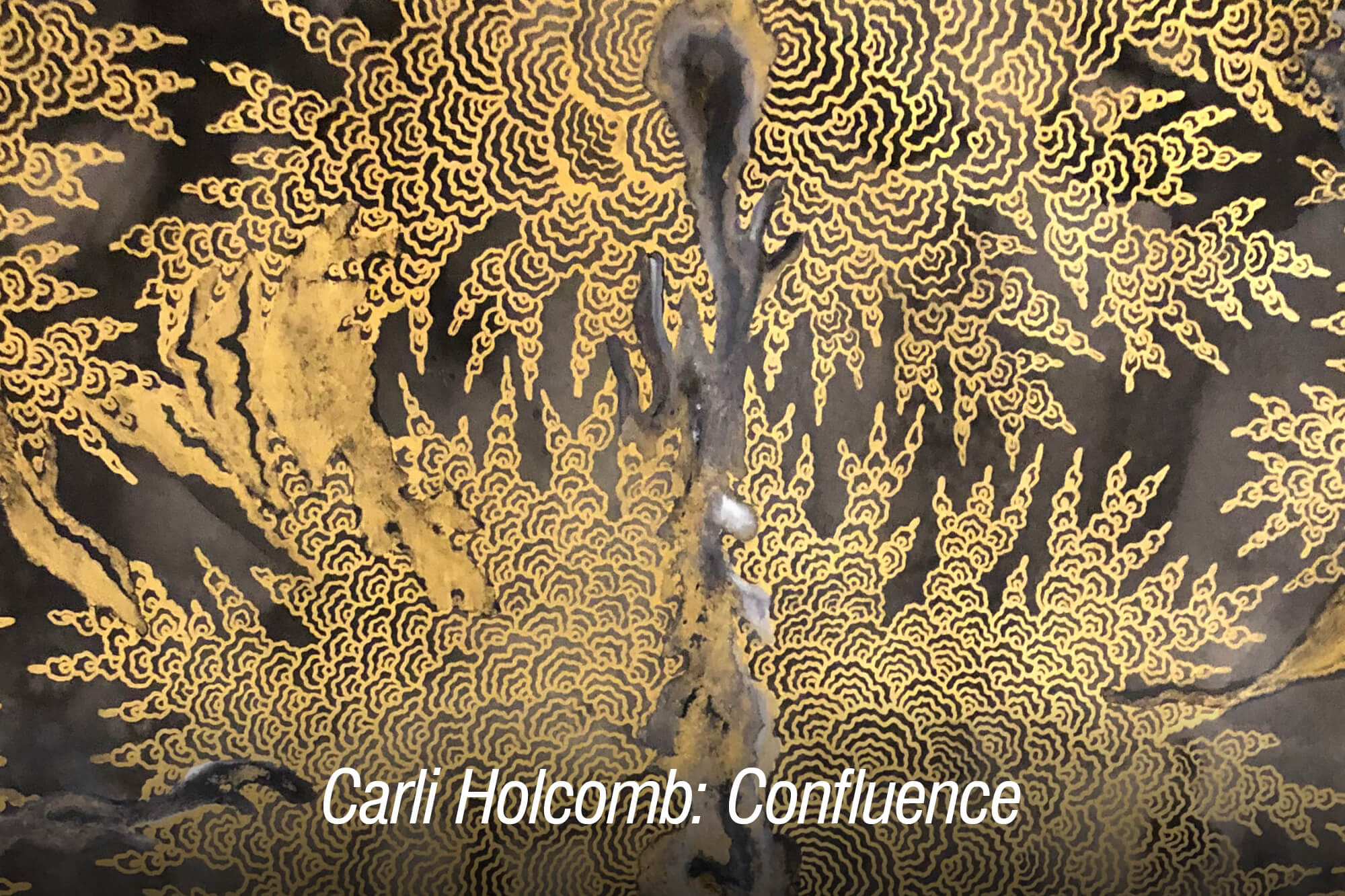 """Image of metal artwork with the words """"Carli Holcomb: Confluence."""""""
