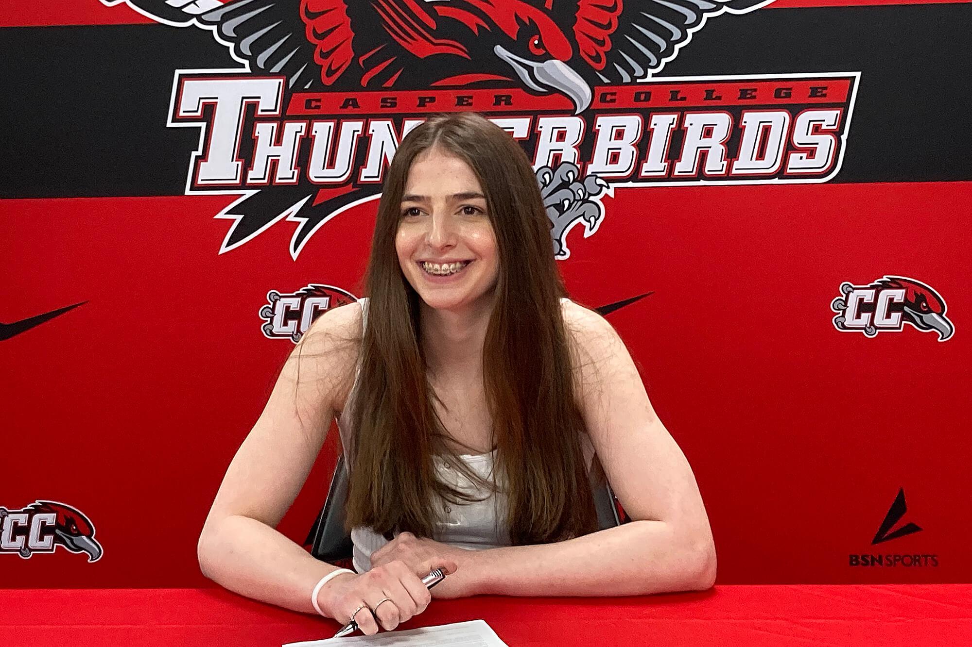 Photo of Natalia Otkhmezuri Casper College women's basketball team player.