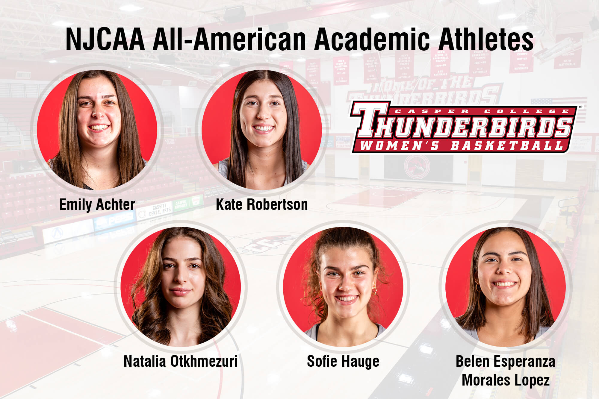 Image of five women's basketball team members for press release.