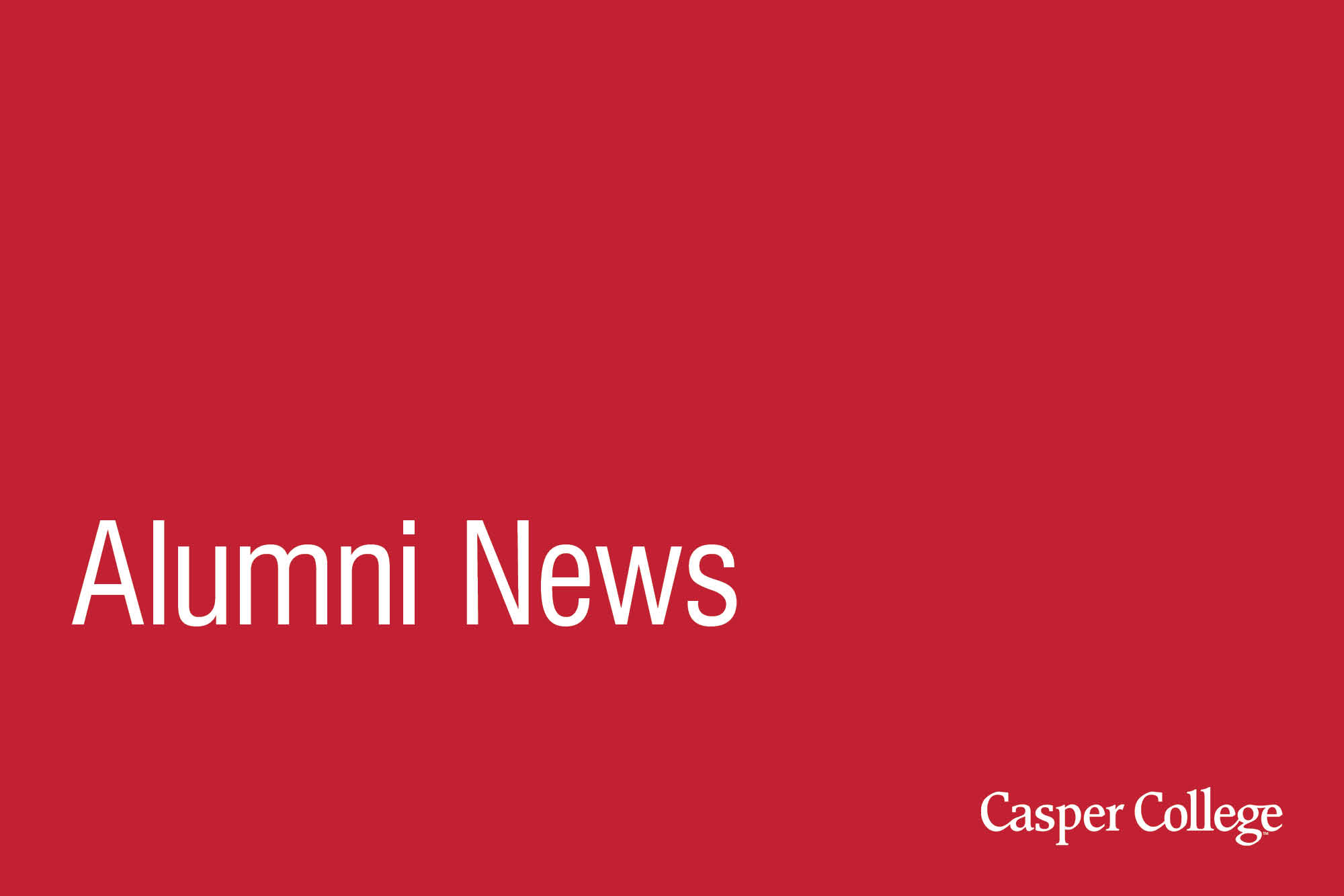 Red background with the words Alumni News