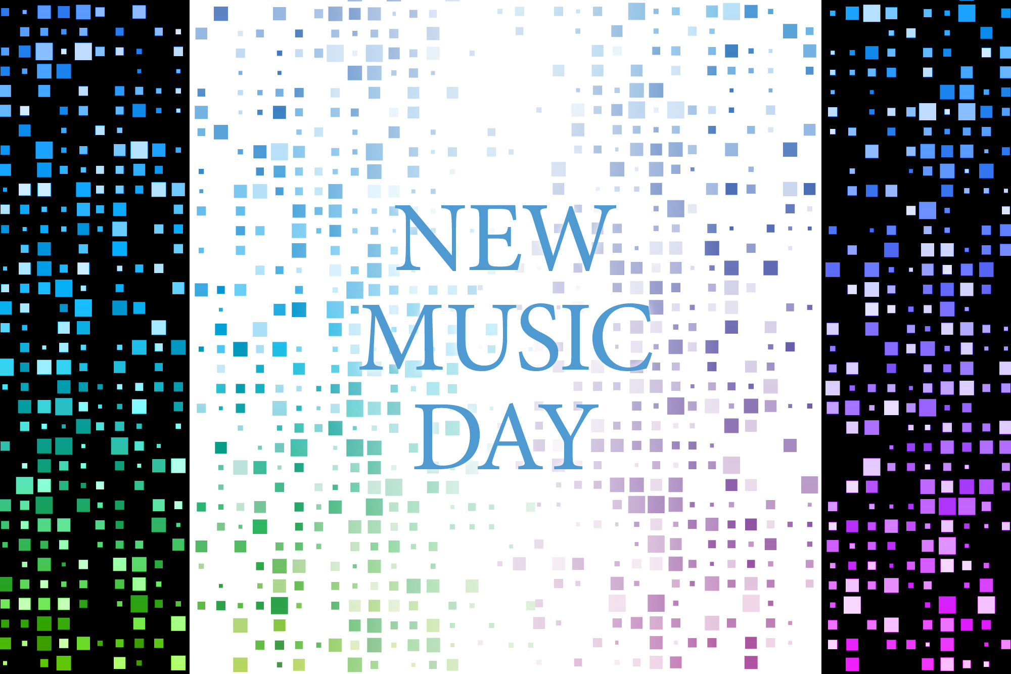 Image of colored squares with the words New Music Day