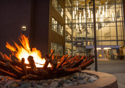 Fire ring in front of the Student Union