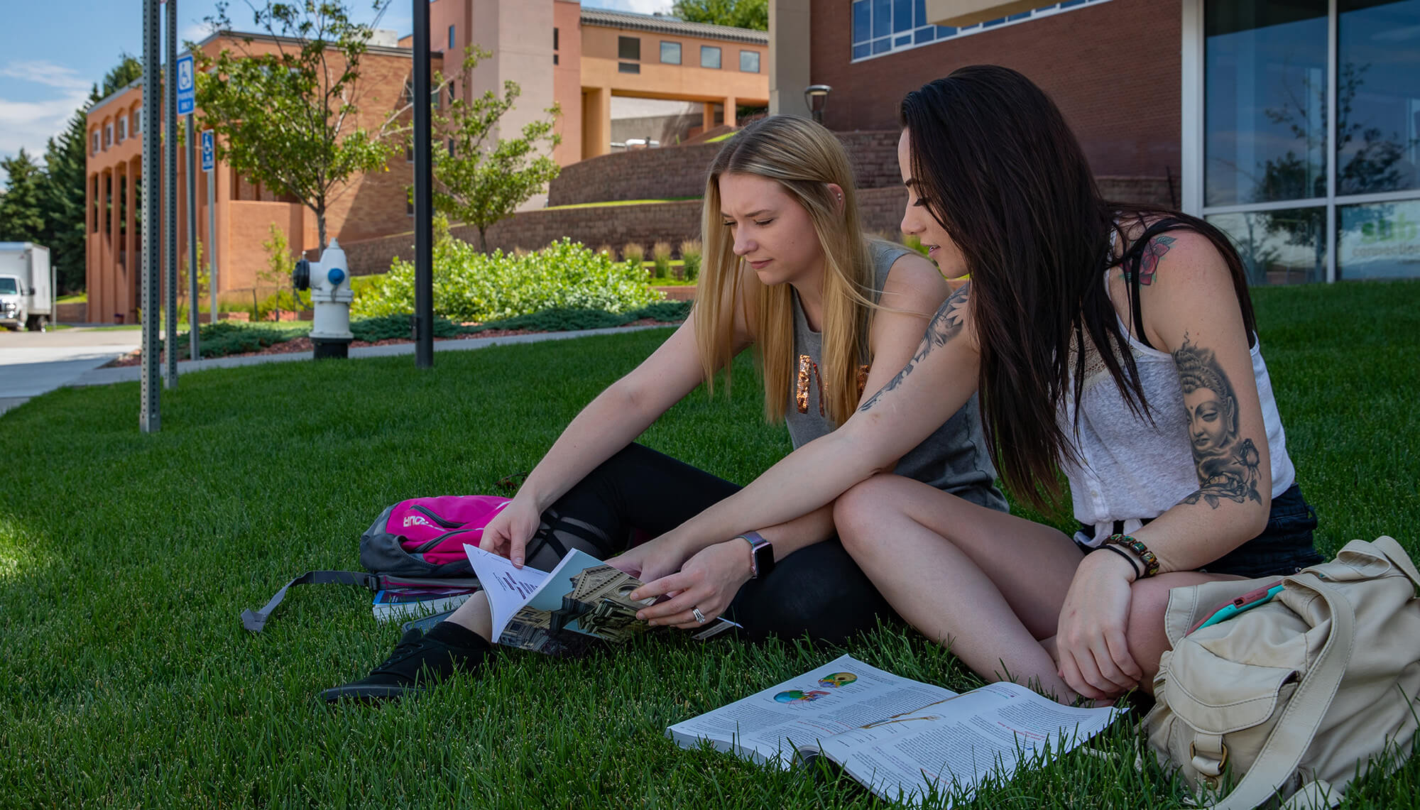 two female students sitting on the grass on campus studying with two textbooks